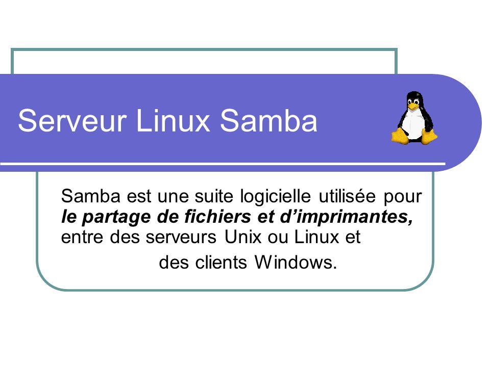Serveur Linux Samba Samba est une suite logicielle utilisée pour le partage de fichiers et dimprimantes, entre des serveurs Unix ou Linux et des clien