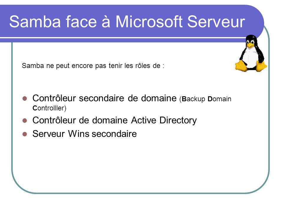 Samba face à Microsoft Serveur Samba ne peut encore pas tenir les rôles de : Contrôleur secondaire de domaine (Backup Domain Controlller) Contrôleur d
