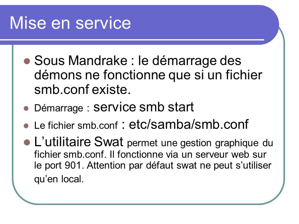 Mise en service Sous Mandrake : le démarrage des démons ne fonctionne que si un fichier smb.conf existe. Démarrage : service smb start Le fichier smb.