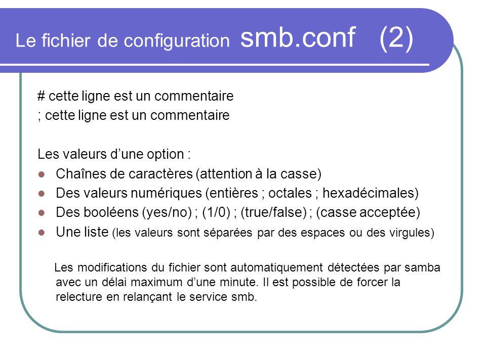 Le fichier de configuration smb.conf (2) # cette ligne est un commentaire ; cette ligne est un commentaire Les valeurs dune option : Chaînes de caract
