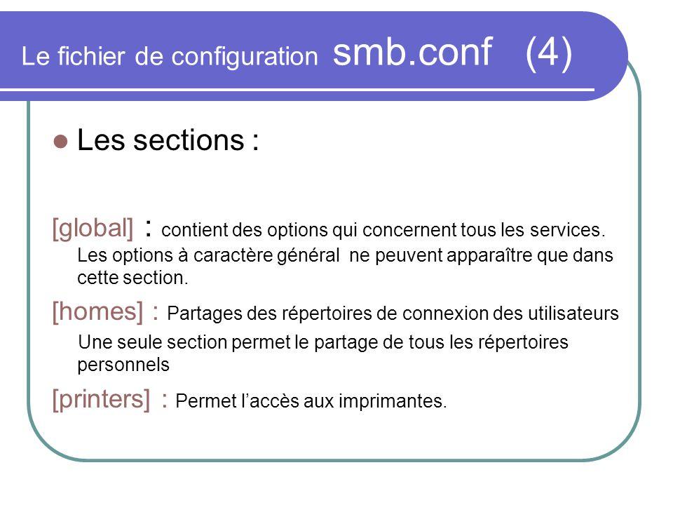 Le fichier de configuration smb.conf (4) Les sections : [global] : contient des options qui concernent tous les services. Les options à caractère géné
