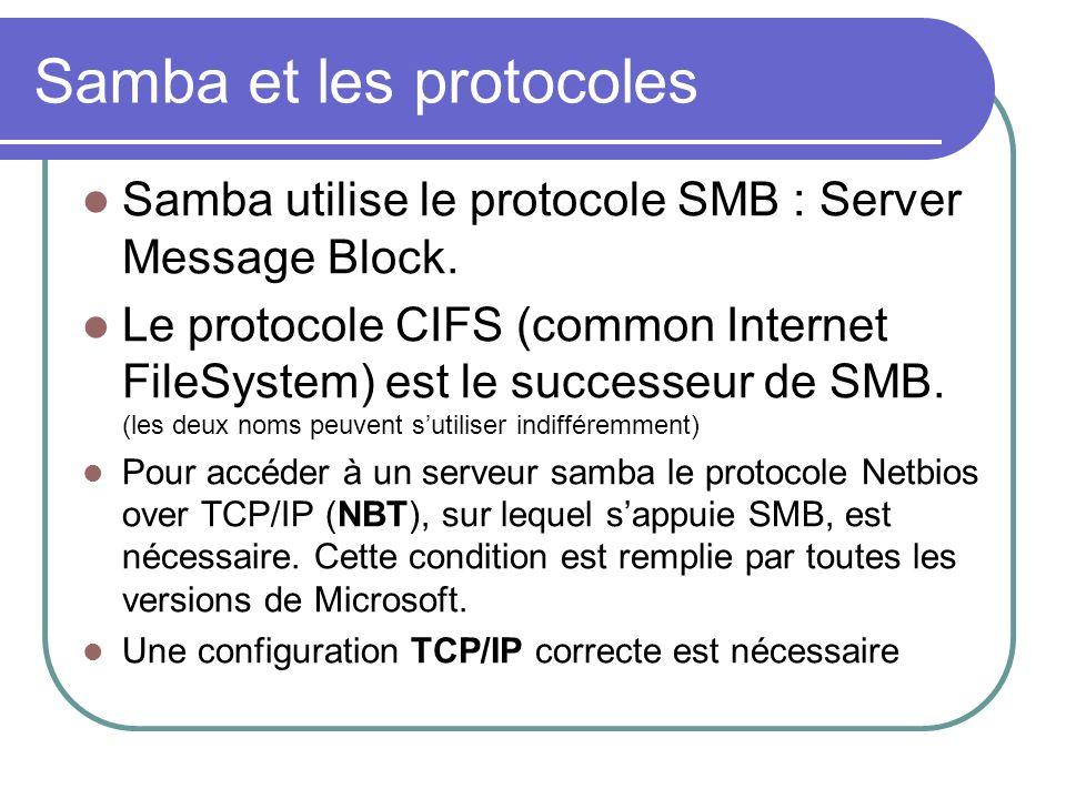 Samba et les protocoles Samba utilise le protocole SMB : Server Message Block. Le protocole CIFS (common Internet FileSystem) est le successeur de SMB