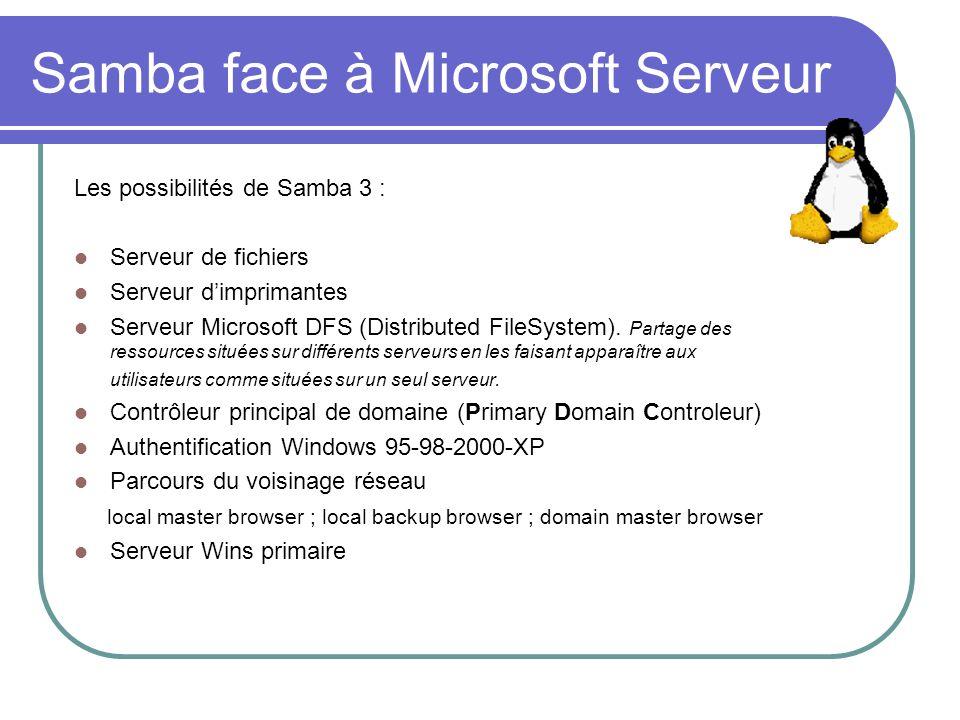 Samba face à Microsoft Serveur Samba ne peut encore pas tenir les rôles de : Contrôleur secondaire de domaine (Backup Domain Controlller) Contrôleur de domaine Active Directory Serveur Wins secondaire