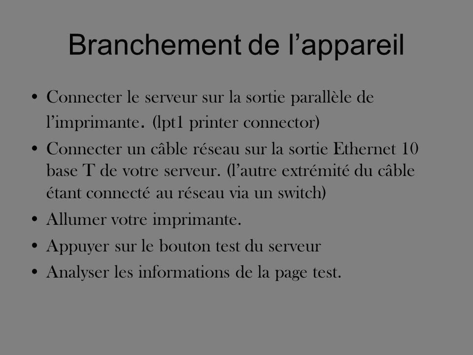Modification de ladresse IP Relevez ladresse IP figurant sur la page test.
