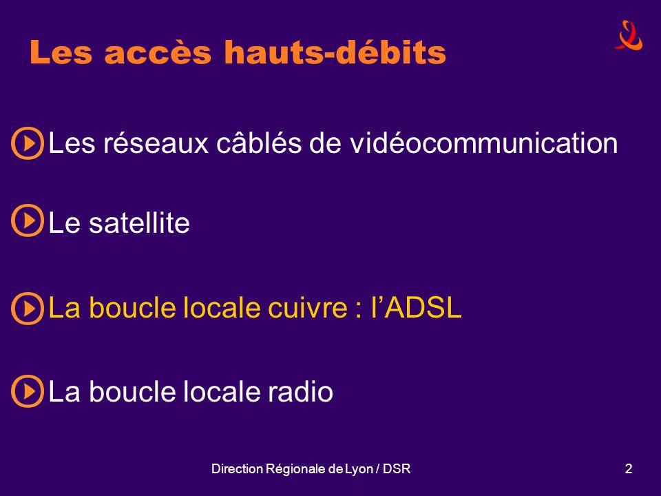 Direction Régionale de Lyon / DSR2 Les accès hauts-débits Les réseaux câblés de vidéocommunication Le satellite La boucle locale cuivre : lADSL La bou