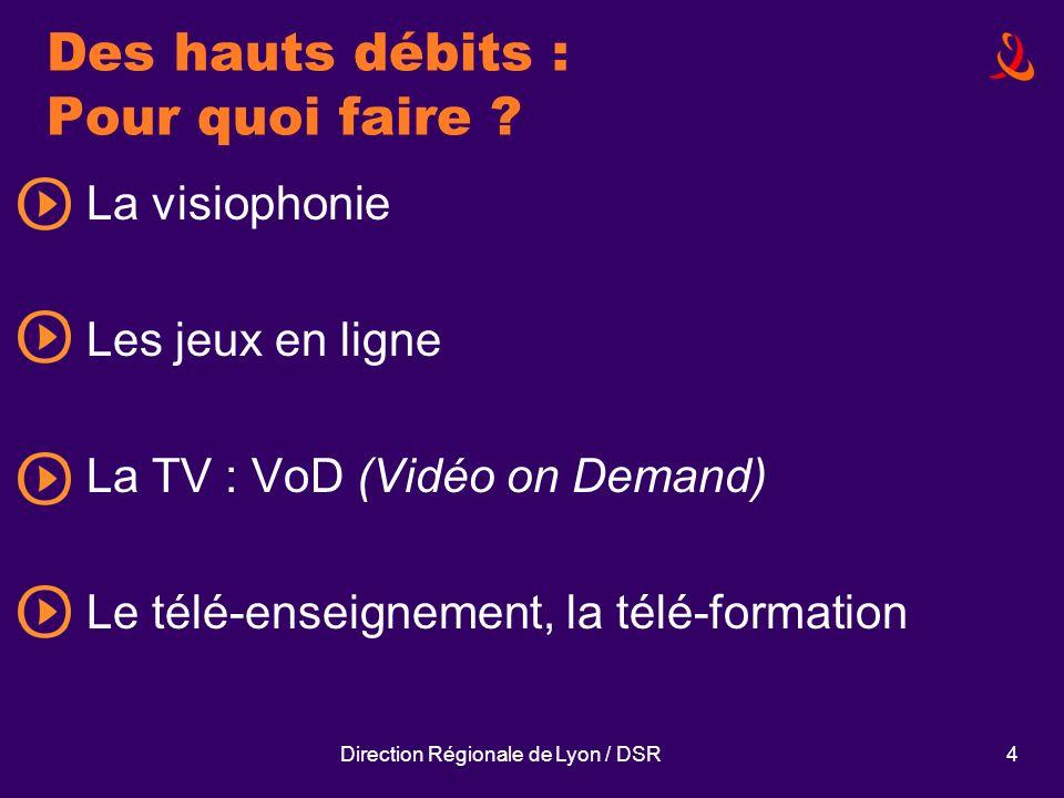 Direction Régionale de Lyon / DSR4 Des hauts débits : Pour quoi faire ? La visiophonie Les jeux en ligne La TV : VoD (Vidéo on Demand) Le télé-enseign