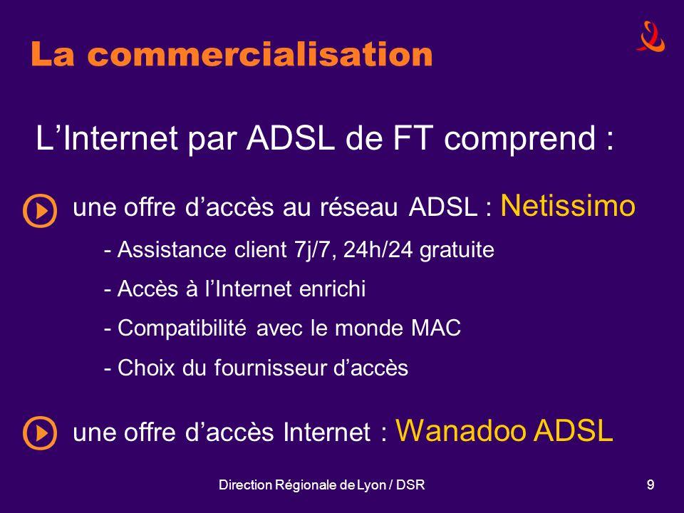 Direction Régionale de Lyon / DSR9 La commercialisation LInternet par ADSL de FT comprend : une offre daccès au réseau ADSL : Netissimo - Assistance c