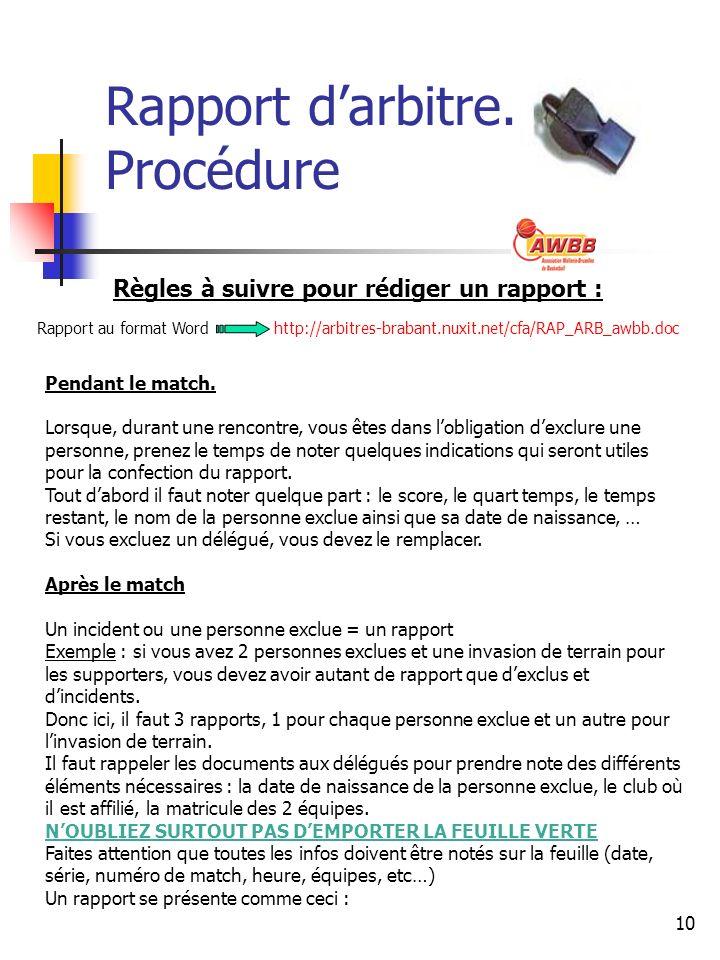 10 Rapport darbitre. Procédure Règles à suivre pour rédiger un rapport : Pendant le match.