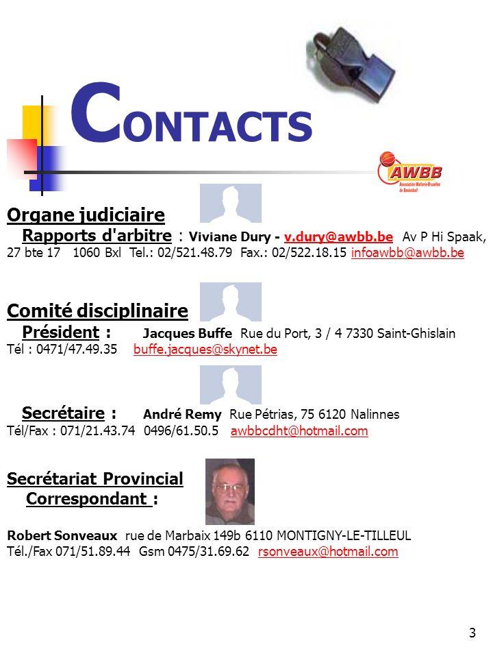 3 C ONTACTS Organe judiciaire Rapports d arbitre : Viviane Dury - v.dury@awbb.be Av P Hi Spaak, 27 bte 17 1060 Bxl Tel.: 02/521.48.79 Fax.: 02/522.18.15 infoawbb@awbb.bev.dury@awbb.beinfoawbb@awbb.be Comité disciplinaire Président : Jacques Buffe Rue du Port, 3 / 4 7330 Saint-Ghislain Tél : 0471/47.49.35 buffe.jacques@skynet.bebuffe.jacques@skynet.be Secrétaire : André Remy Rue Pétrias, 75 6120 Nalinnes Tél/Fax : 071/21.43.74 0496/61.50.5 awbbcdht@hotmail.comawbbcdht@hotmail.com Secrétariat Provincial Correspondant : Robert Sonveaux rue de Marbaix 149b 6110 MONTIGNY-LE-TILLEUL Tél./Fax 071/51.89.44 Gsm 0475/31.69.62 rsonveaux@hotmail.comrsonveaux@hotmail.com