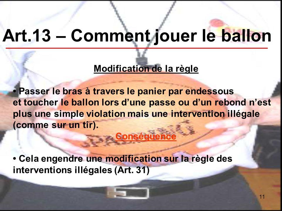 11 Art.13 – Comment jouer le ballon Modification de la règle Passer le bras à travers le panier par endessous et toucher le ballon lors dune passe ou dun rebond nest plus une simple violation mais une intervention illégale (comme sur un tir).