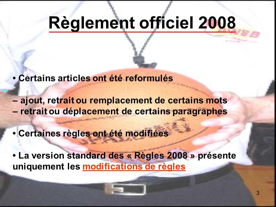 3 Règlement officiel 2008 Certains articles ont été reformulés – ajout, retrait ou remplacement de certains mots – retrait ou déplacement de certains paragraphes Certaines règles ont été modifiées La version standard des « Règles 2008 » présente uniquement les modifications de règles