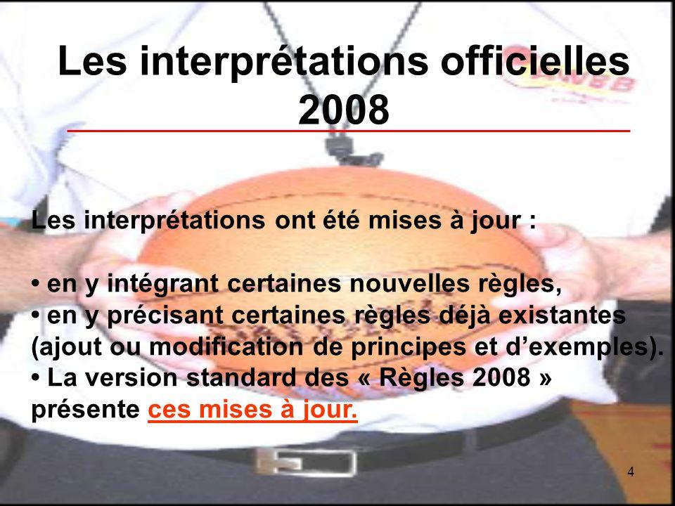 4 Les interprétations officielles 2008 Les interprétations ont été mises à jour : en y intégrant certaines nouvelles règles, en y précisant certaines règles déjà existantes (ajout ou modification de principes et dexemples).