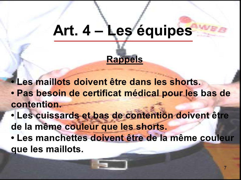 7 Art. 4 – Les équipes Rappels Les maillots doivent être dans les shorts.