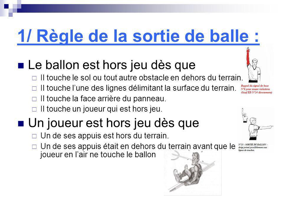 1/ Règle de la sortie de balle : Le ballon est hors jeu dès que Il touche le sol ou tout autre obstacle en dehors du terrain. Il touche lune des ligne