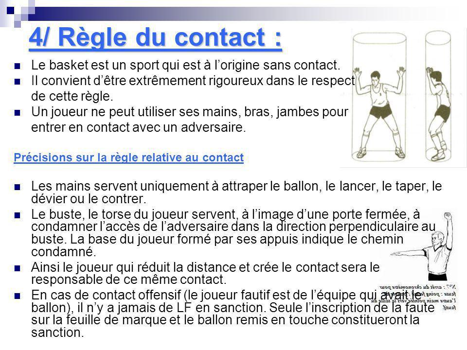4/ Règle du contact : Le basket est un sport qui est à lorigine sans contact. Il convient dêtre extrêmement rigoureux dans le respect de cette règle.
