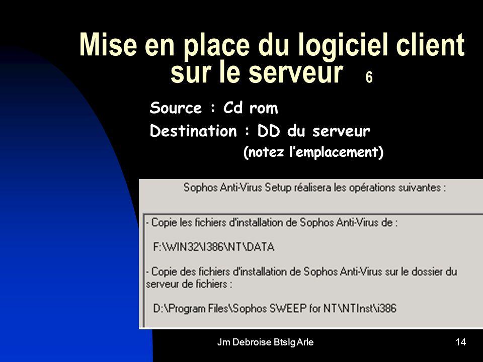 Jm Debroise BtsIg Arle14 Mise en place du logiciel client sur le serveur 6 Source : Cd rom Destination : DD du serveur (notez lemplacement)