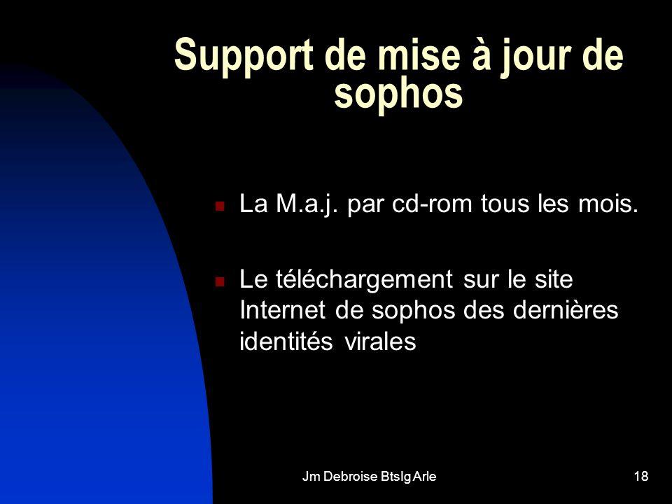 Jm Debroise BtsIg Arle18 Support de mise à jour de sophos La M.a.j. par cd-rom tous les mois. Le téléchargement sur le site Internet de sophos des der