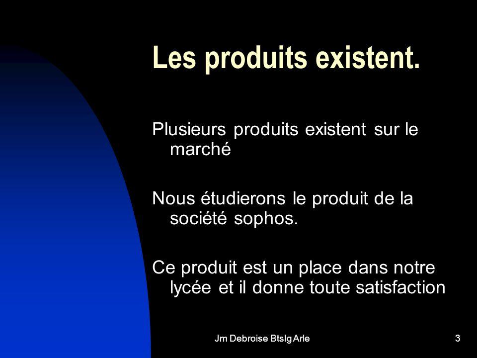 Jm Debroise BtsIg Arle3 Les produits existent. Plusieurs produits existent sur le marché Nous étudierons le produit de la société sophos. Ce produit e
