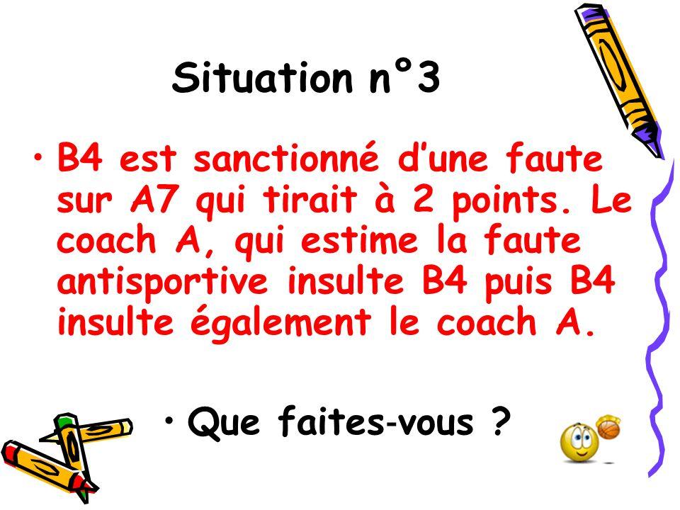 Situation n°3 B4 est sanctionné dune faute sur A7 qui tirait à 2 points. Le coach A, qui estime la faute antisportive insulte B4 puis B4 insulte égale