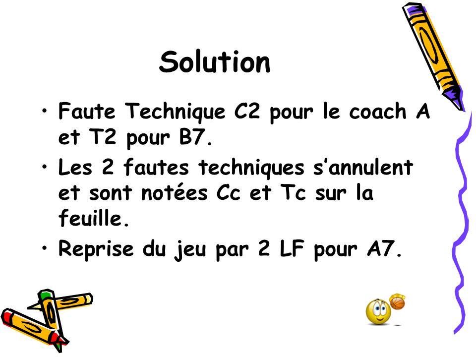 Solution Faute Technique C2 pour le coach A et T2 pour B7. Les 2 fautes techniques sannulent et sont notées Cc et Tc sur la feuille. Reprise du jeu pa