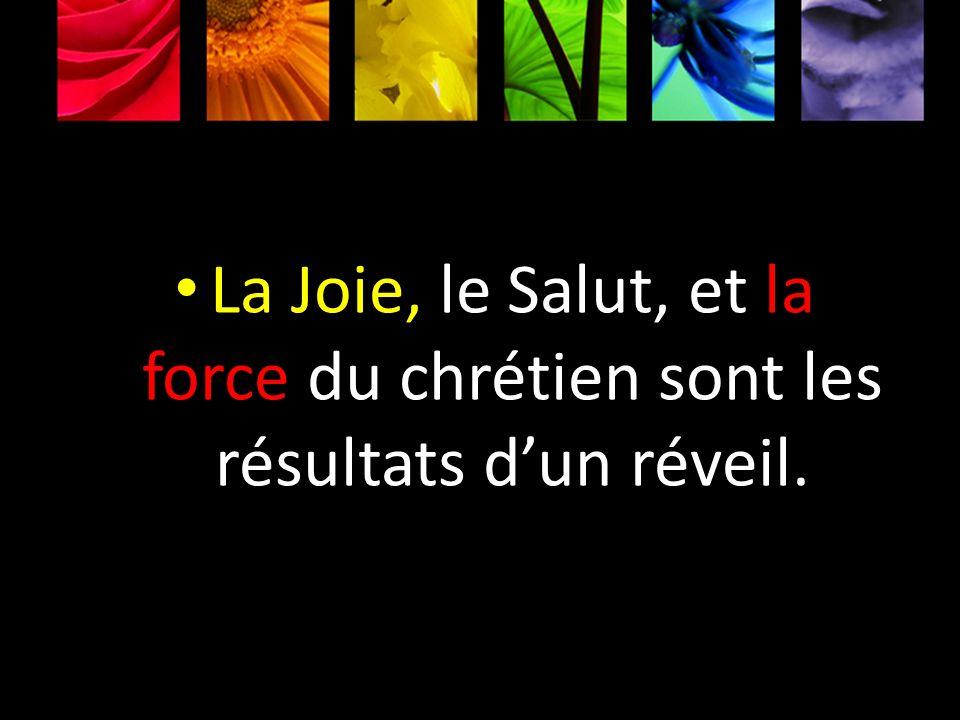 La Joie, le Salut, et la force du chrétien sont les résultats dun réveil.