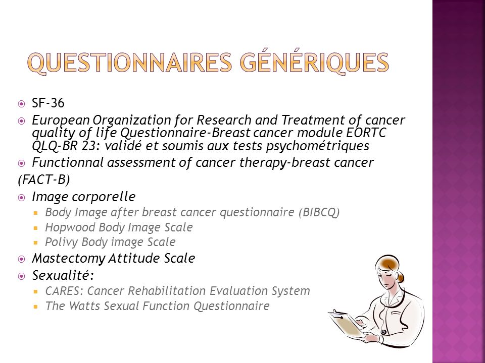SF-36 European Organization for Research and Treatment of cancer quality of life Questionnaire-Breast cancer module EORTC QLQ-BR 23: validé et soumis
