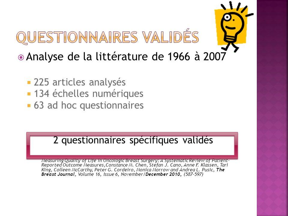 Analyse de la littérature de 1966 à 2007 225 articles analysés 134 échelles numériques 63 ad hoc questionnaires 2 questionnaires spécifiques validés M