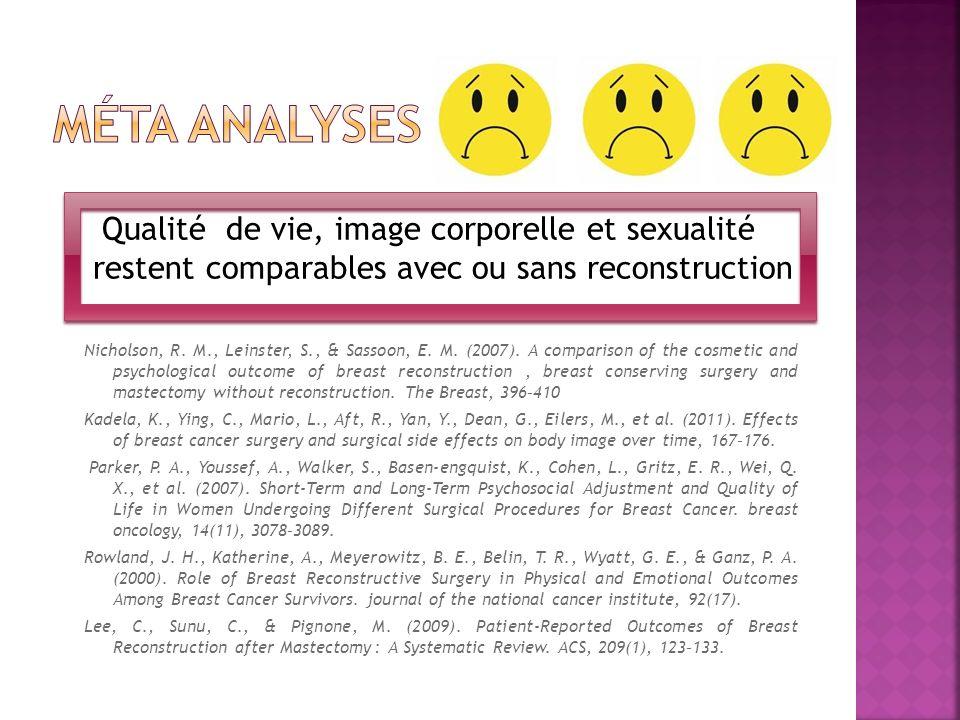 Qualité de vie, image corporelle et sexualité restent comparables avec ou sans reconstruction Nicholson, R. M., Leinster, S., & Sassoon, E. M. (2007).