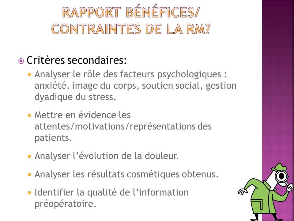 Critères secondaires: Analyser le rôle des facteurs psychologiques : anxiété, image du corps, soutien social, gestion dyadique du stress. Mettre en év