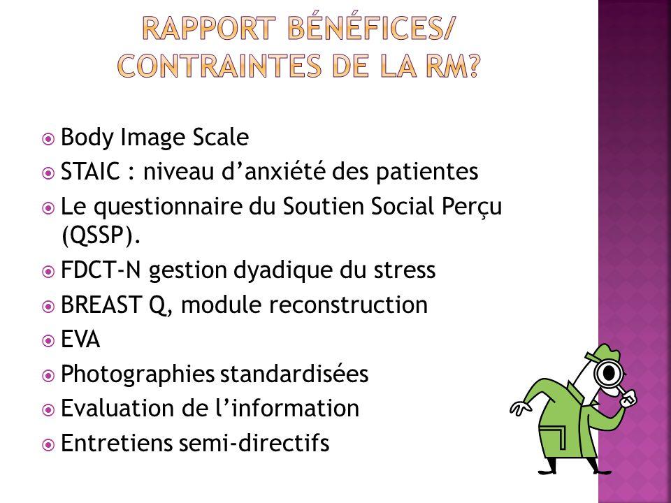 Body Image Scale STAIC : niveau danxiété des patientes Le questionnaire du Soutien Social Perçu (QSSP). FDCT-N gestion dyadique du stress BREAST Q, mo