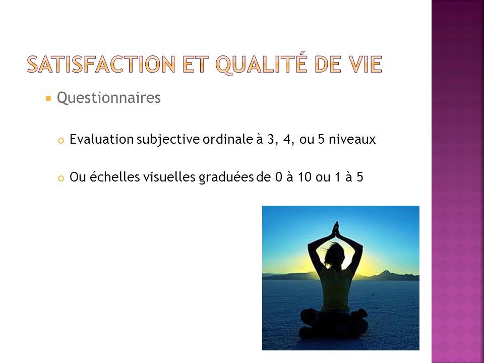 Questionnaires Evaluation subjective ordinale à 3, 4, ou 5 niveaux Ou échelles visuelles graduées de 0 à 10 ou 1 à 5