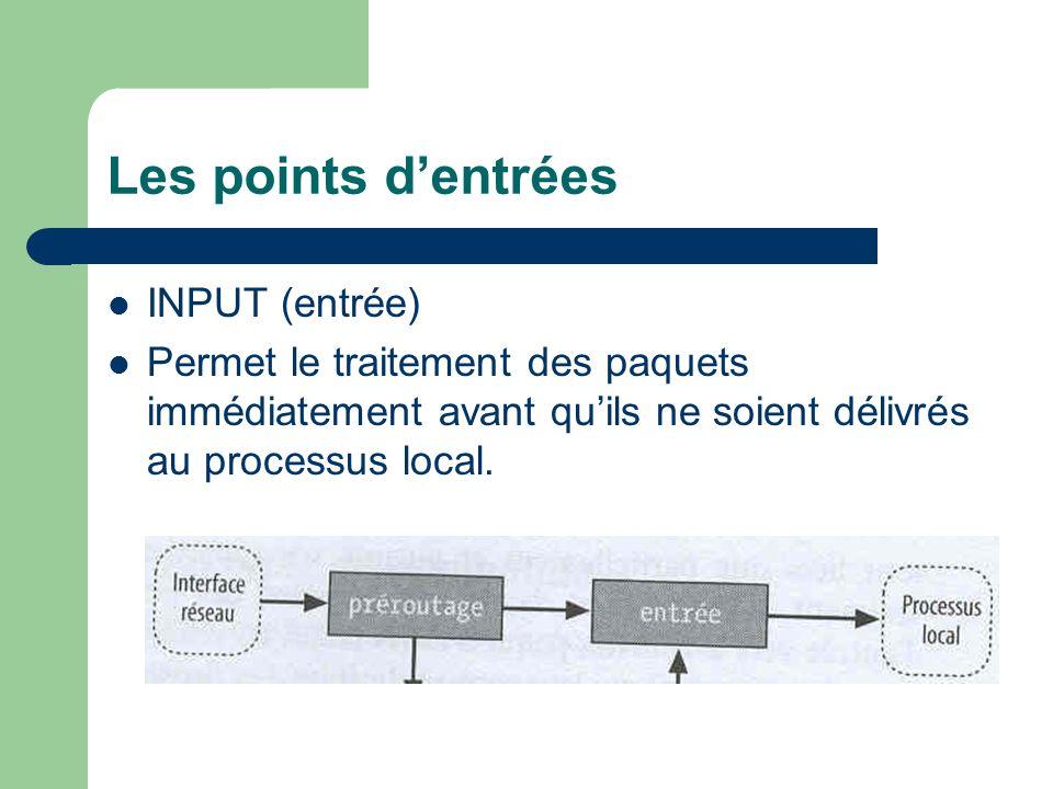 Les points dentrées OUPUT (sortie) Permet le traitement des paquets immédiatement après leur génération par un processus local.