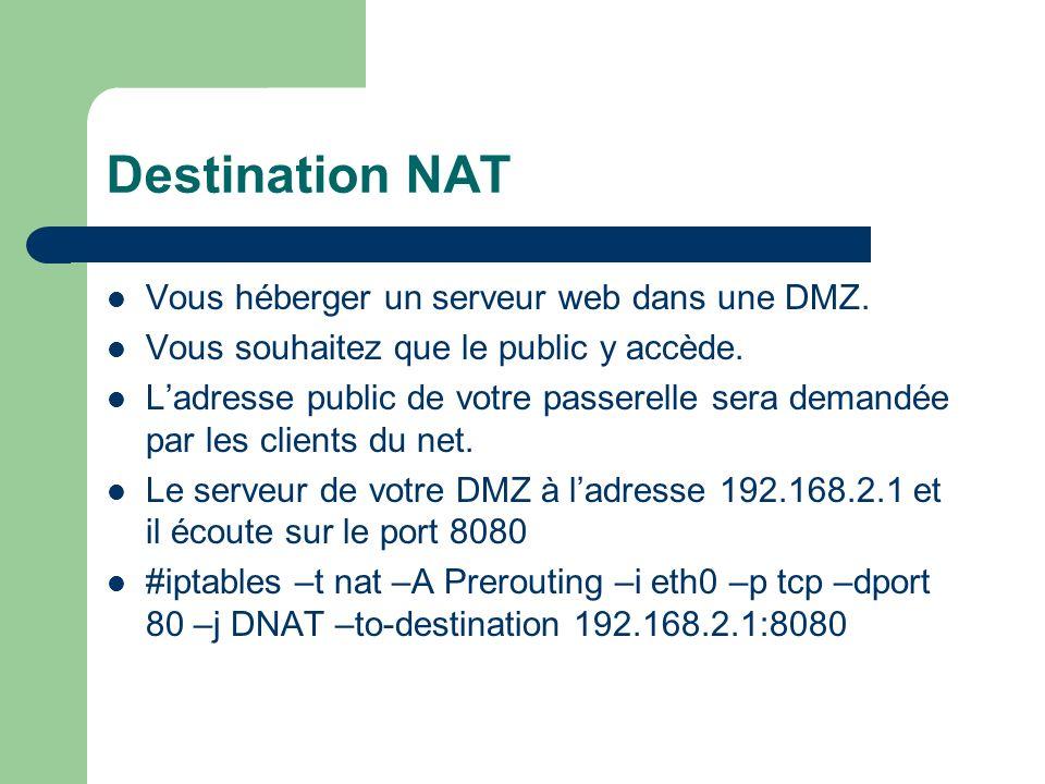 -t nat table Nat -A Prerouting on ajoute une règle en (entrée dinterface) -i etho on précise le sens (–i=input) et la carte réseau -p TCP on indique le protocole TCP --dport 80 le port de destination prévu à lorigine.