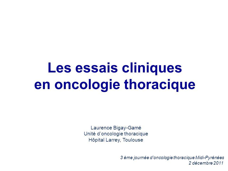 Essais clinique en cours CBNPC AdjuvantRechute Première ligne M+ IFCT-0703 IFCT-0801 IFCT-0702GFPC 08-02 CA184104 – BMS IFCT-1001 CHIVA BP22349 ROCHE A venir PROFILE 1014 Pfizer LUNG-ART CBNPC IIIA/IIIB Cilengitide (Phase I) LADIE IFCT Ligne >= 2 MEK114653 - GSK BRF113928 - GSK ARQ 197 - DAIICHI I4T-MC-JVBA Lilly CBKM120 - Novartis A7471009 - Pfizer E7389-G000-302 Esai TARSEQ GFPC Surveillance CBNPC opérés IFCT 03-02 MEF 4984 Genentech GFPC 10-01 Patients 40 ans