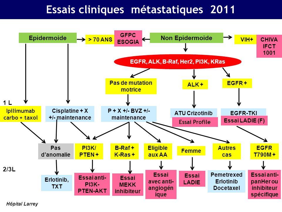 Pas de mutation motrice P + X +/- BVZ +/- maintenance 1 L 2/3L EGFR + EGFR-TKI ALK + B-Raf + K-Ras + Essai MEKK inhibiteur Femme Essai LADIE Eligible