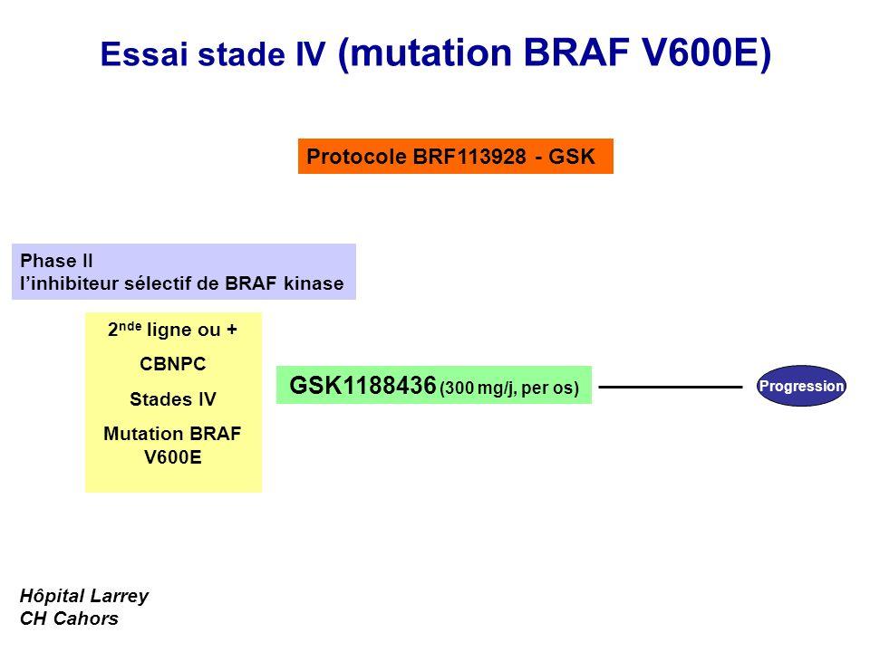Essai stade IV (mutation BRAF V600E) Progression GSK1188436 (300 mg/j, per os) 2 nde ligne ou + CBNPC Stades IV Mutation BRAF V600E Protocole BRF11392