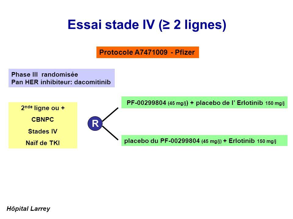 Essai stade IV ( 2 lignes) Protocole A7471009 - Pfizer placebo du PF-00299804 (45 mg/j) + Erlotinib 150 mg/j R PF-00299804 (45 mg/j ) + placebo de l E