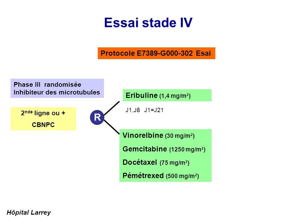 Essai stade IV Protocole E7389-G000-302 Esai Vinorelbine (30 mg/m 2 ) Gemcitabine (1250 mg/m 2 ) Docétaxel (75 mg/m 2 ) Pémétrexed (500 mg/m 2 ) R Eri