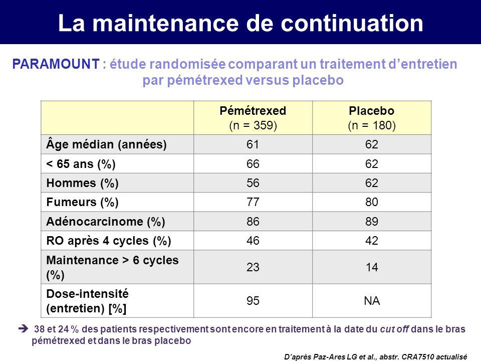 La maintenance de continuation Daprès Paz-Ares LG et al., abstr.