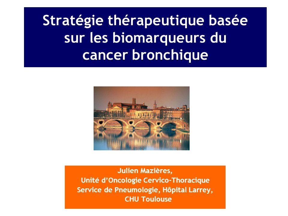 81 Mutation de B-Raf Marchetti, JCO 2011, Paik JCO 2011 3 % des ADK Femmes > hommes Fumeurs +++ et non fumeur Tout âge Mauvais pronostic