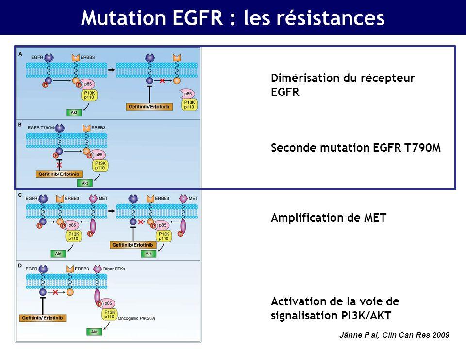 Mutation EGFR : rôle des hormones LADIE (IFCT-1003) : Intérêt de lassociation dun anti- œstrogène à un EGFR-TKI chez la femme porteuse dun CBNPC… Femmes Stades avancés Ménopausée Adénocar- cinome Tissu disponible Femmes Stades avancés Ménopausée Adénocar- cinome Tissu disponible Chimio 1L/2L EGFR WT Erlotinib Erlotinib + Fulvestrant R R Gefitinib Gefitinib + Fulvestrant R R EGFR Mut