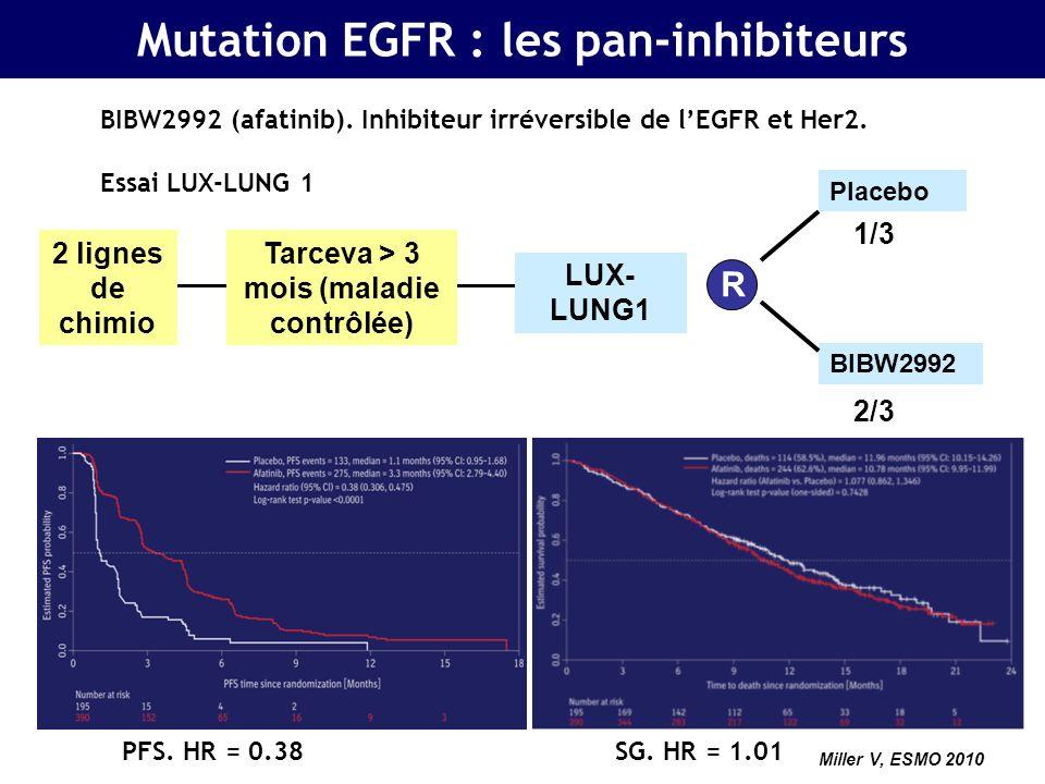Activité du crizotinib chez les CBNPC positifs pour ALK en technique FISH : phase II, n = 82 81 Translocation EML4-ALK TR = 57% Contrôle de la maladie à 8 semaines : 87% SSP à 6 mois : 72% Kwak, NEJM 2010