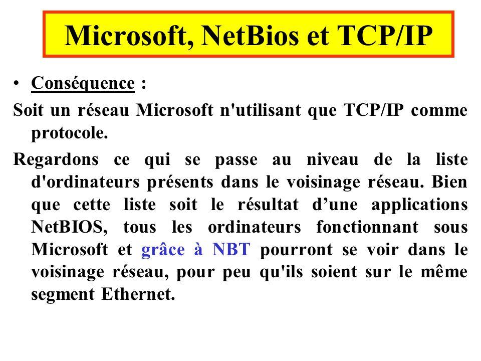 Conséquence : Soit un réseau Microsoft n'utilisant que TCP/IP comme protocole. Regardons ce qui se passe au niveau de la liste d'ordinateurs présents