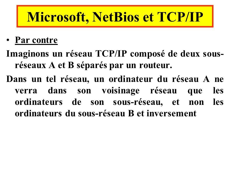 Par contre Imaginons un réseau TCP/IP composé de deux sous- réseaux A et B séparés par un routeur. Dans un tel réseau, un ordinateur du réseau A ne ve