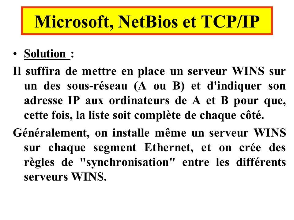 Solution : Il suffira de mettre en place un serveur WINS sur un des sous-réseau (A ou B) et d'indiquer son adresse IP aux ordinateurs de A et B pour q