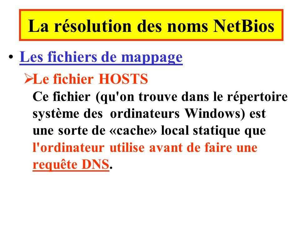 Les fichiers de mappage Le fichier HOSTS Ce fichier (qu on trouve dans le répertoire système des ordinateurs Windows) est une sorte de «cache» local statique que l ordinateur utilise avant de faire une requête DNS.