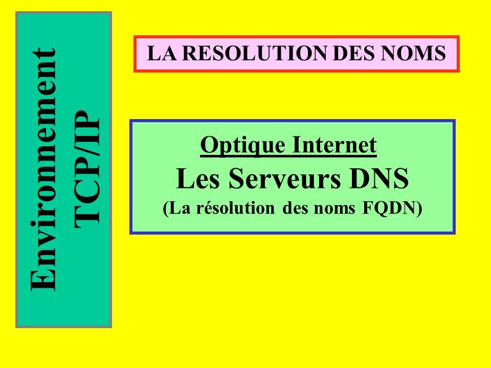 Environnement TCP/IP LA RESOLUTION DES NOMS Optique Internet Les Serveurs DNS (La résolution des noms FQDN)