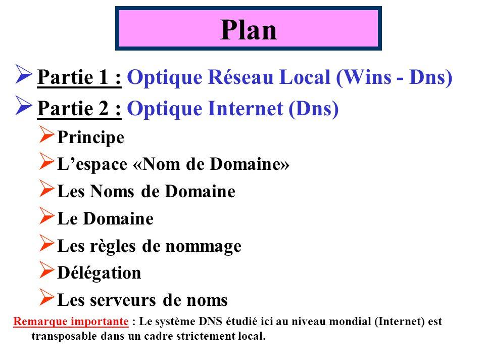 Plan Partie 1 : Optique Réseau Local (Wins - Dns) Partie 2 : Optique Internet (Dns) Principe Lespace «Nom de Domaine» Les Noms de Domaine Le Domaine Les règles de nommage Délégation Les serveurs de noms Remarque importante : Le système DNS étudié ici au niveau mondial (Internet) est transposable dans un cadre strictement local.