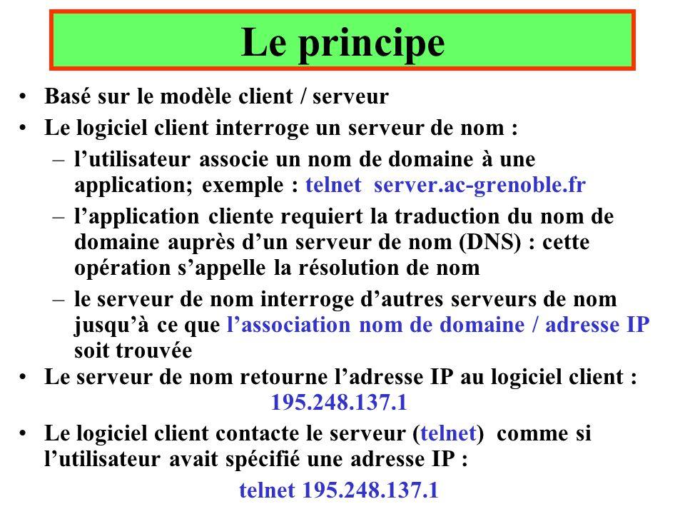Le principe Basé sur le modèle client / serveur Le logiciel client interroge un serveur de nom : –lutilisateur associe un nom de domaine à une application; exemple : telnet server.ac-grenoble.fr –lapplication cliente requiert la traduction du nom de domaine auprès dun serveur de nom (DNS) : cette opération sappelle la résolution de nom –le serveur de nom interroge dautres serveurs de nom jusquà ce que lassociation nom de domaine / adresse IP soit trouvée Le serveur de nom retourne ladresse IP au logiciel client : 195.248.137.1 Le logiciel client contacte le serveur (telnet) comme si lutilisateur avait spécifié une adresse IP : telnet 195.248.137.1
