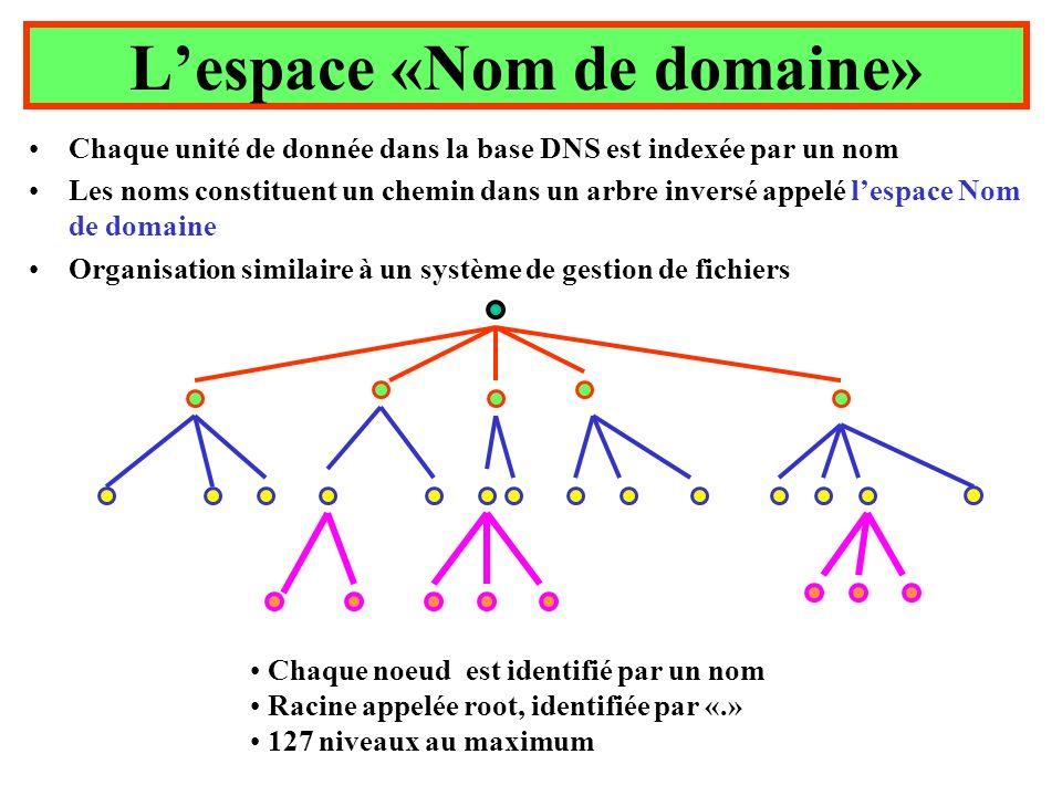 Lespace «Nom de domaine» Chaque unité de donnée dans la base DNS est indexée par un nom Les noms constituent un chemin dans un arbre inversé appelé lespace Nom de domaine Organisation similaire à un système de gestion de fichiers Chaque noeud est identifié par un nom Racine appelée root, identifiée par «.» 127 niveaux au maximum
